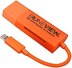BoneView SD Card Reader for iPhone - New Corded Trail Camera Viewer Plays Deer Hunting Game Camera Scouting Video & Photo Memory on All Latest Apple iOS iPad and iPhone Smartphones, Orange