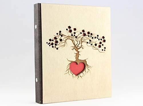 DIN A4anillos de madera libro, tronco libro, organizador, bodas, Árbol de amor, EHE pares, Le y a, libro de visitas