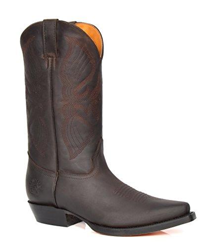 House of Luggage Herren Echtes Leder Cowboy Stiefel Wadenlänge Westernabsatz überstreifen Spitze Schuhe HLG10LO (EU 46, Braun)