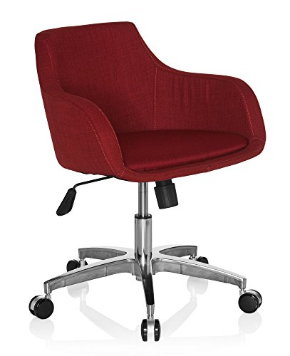 hjh OFFICE 670540 Home-Office Drehstuhl SHAPE 100 Stoff Rot Drehsessel Sessel Bürostuhl mit Rollen höhenverstellbar