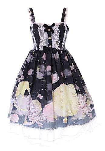JSK-73-3 Negro Gato UFO Astronauta Luna Lolita Vestido Pastel Goth Lolita Cosplay Disfraz Kawaii