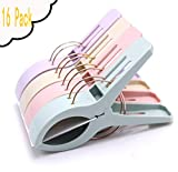 FIVOENDAR Beach Towel Clips for Beach Chairs(16 Pack), Towel Holder in Fun Bright Colors, Keep Towel from Blowing Away