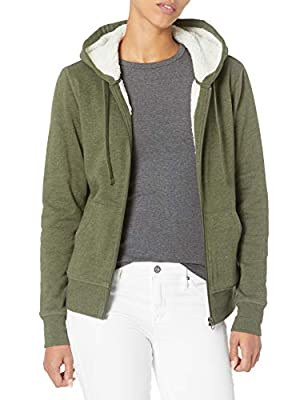 Amazon Essentials Women's Sherpa-Lined Fleece Full-Zip Hooded Jacket, Olive Heather, Large