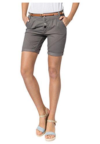 SUBLEVEL Sublevel Damen Chino Bermuda-Shorts mit Flecht-Gürtel Dark-Grey L