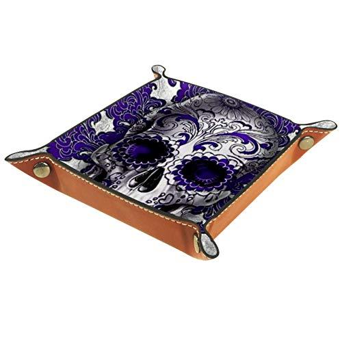 Kull Purple Valet Tablett für Damen Aufbewahrung, Schlüssel-Caddy Nachttisch Organizer Catchall Tablett für Würfel, Münzen, Geldbörse, Schmuck, Make-up, Schmuck, Mehrfarbig01, 20.5x20.5cm