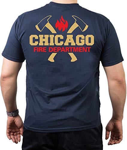 Feuer1 T-shirt Navy, Chicago Fire Dept. avec haches dorées et emblème standard en rouge doré S bleu marine