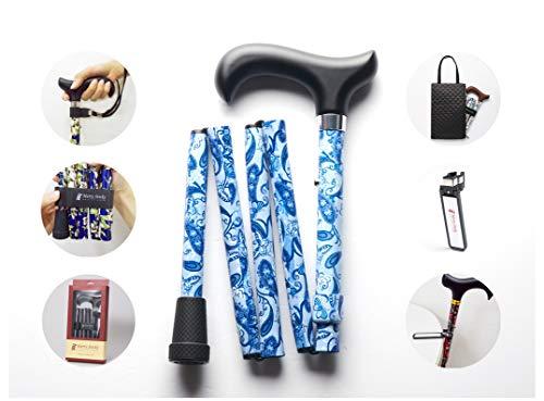 Merry Sticks, bastón Plegable Ajustable de diseño, Aqua Breeze, Incluye una práctica Bolsa para su bastón y un Soporte para Bastones Reflectante Inteligente