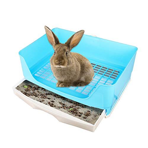 Extra Large Rabbit Litter Box, Blue - Pet Potty Corner Toilet Bigger Pan for Adult Bunny Guinea Pig...