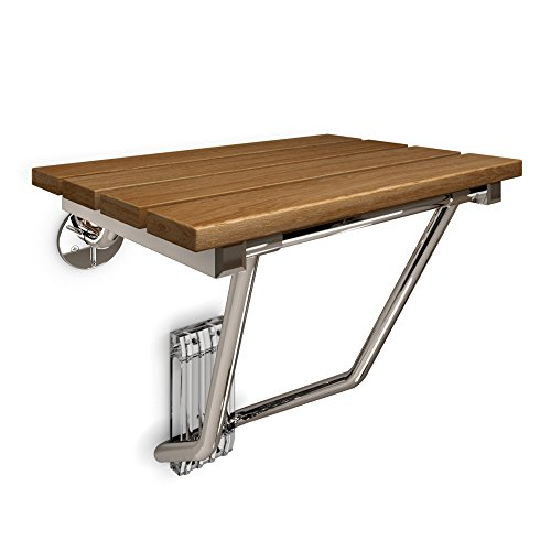 DreamLine - SHST-01-TK 15 in. x 12.875 in. Natural Teak Wood Folding Shower Seat in Chrome