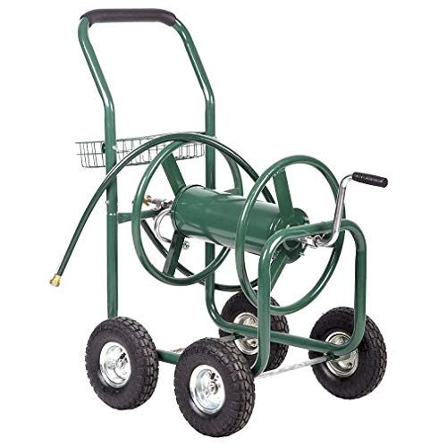 Best Direct Deals 300ft Water Hose Reel Cart w/Basket for Outdoor Garden, Heavy Duty Yard Water Planting - Green
