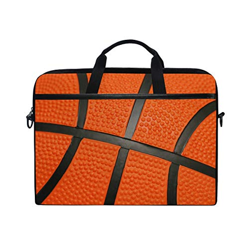 JOYPRINT Laptop Sleeve Case, Sport Ball Basketball 14-14.5 inch Briefcase Messenger Notebook Computer Bag with Shoulder Strap Handle for Men Women Boy Girls