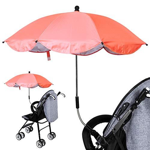 Luzoeo Sombrilla Universal Carrito de Bebé Paraguas Sombrilla Parasol para Cochecito Silla de Paseo 360 Grados Ajustable con UV Protección el Bebés y Niños (75cm, Naranja)