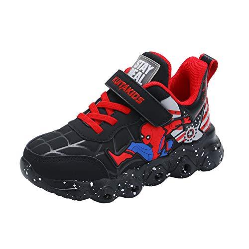 XNheadPS Kinder-LED leuchten Trainers Jungen Mädchen Luminous Flashing Turnschuhe Spiderman Sport-laufende Schuhe Athletic und Beleg auf atmungsaktive Schuhe,Black- 29/Inner Length 18 cm
