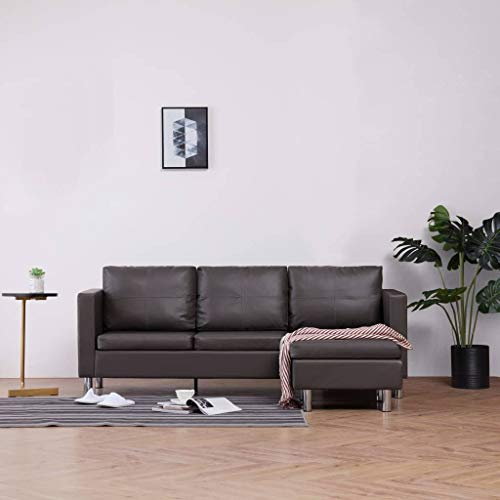 Festnight Sofá chaise longue tres plaza –piel sintética, cama -188 x 122 x 77 cm