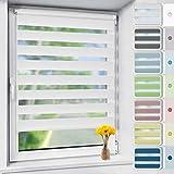 Vkele Doppelrollo Klemmfix ohne Bohren, 45x150cm(BxH) Weiß, Duo Rollos für Fenster und Tür mit Klämmträger, Fensterrollo lichtdurchlässig und verdunkelnd, Zebrarollo Seitenzugrollo Wandmontage