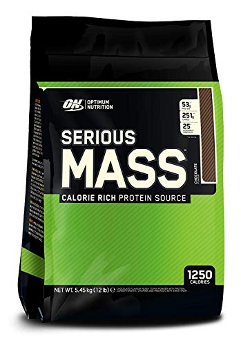 Optimum Nutrition Serious Mass, Con proteine whey in Polvere per Aumentare la Massa Muscolare, Cioccolato, 5.45 kg, 16 Porzioni