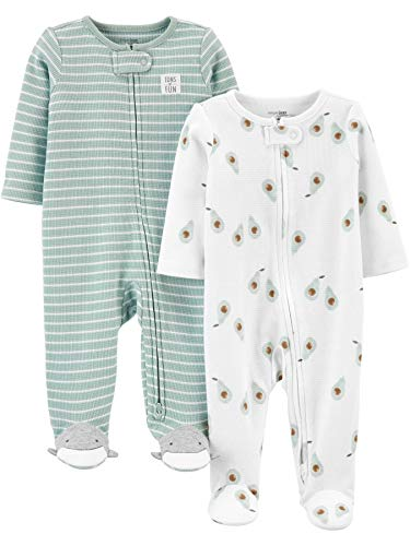 Simple Joys by Carter's Baby 2-Pack 2-Way Zip Thermal Footed Sleep and Play Mamelucos para bebs y Nios pequeos, Rayas/aguacates, 9 Mes Unisex bebé