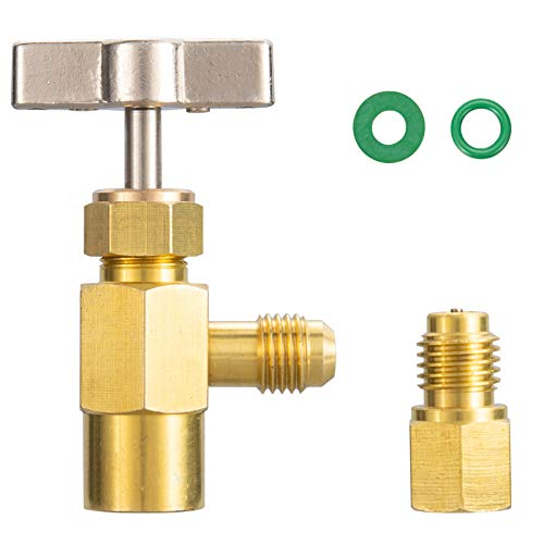 R134A Can Tap Valve Refrigerant Dispenser Tool Brass Valve Bottle Opener with Tank Adapter Line Repairing Tools 1/4' SAE Male and 1/2' Acme Female Thread for AC Manifold Freon Charging Hose