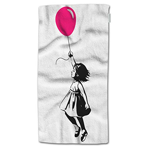 """HGOD DESIGNS Hand Towel Girl,Toddler Girl Floating in mid-air with Pink red Balloon in Hand Hand Towel Best for Bathroom Kitchen Bath and Hand Towels 30"""" LX15 W"""