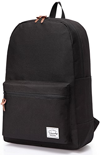Vaschy School Backpack Unisex Classic Lightweight Tear Resistant Rucksack Travel Backpack Fits 15.6 Inches Laptop Black