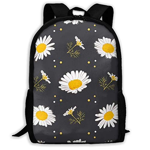 Hangdachang School Backpack Daisy Pattern Camomile Bookbag Casual Travel Bag for Teenagers Boys Girls