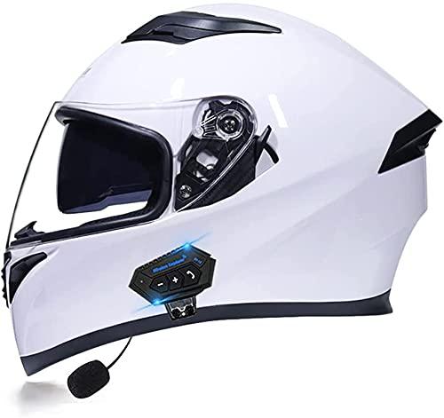 Bluetooth Casco Integral ProteccióN Aprobado por Dot/ECE Casco Moto Cascos Multiuso con Visera Solar Doble Adecuado para Motocicleta Scooter Ciclomotor (Color : 3, Size : L)