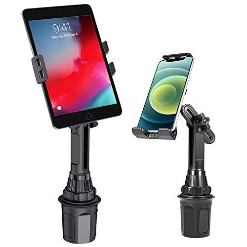 Soporte para tableta 2 en 1, soporte para teléfono celular y iPad para coche, compatible con iPhone 12 11 Pro Max XR XS, soporte ajustable para iPad con ampliación para iPhone, Samsung, Tablet, iPad