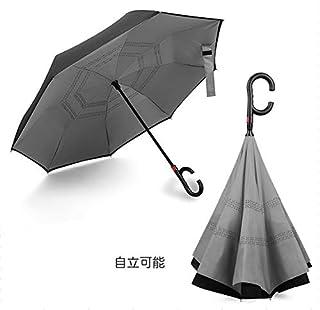 XZY 逆転傘 逆さ傘 逆折り式傘 ワンタッチ自動開け 両手解放のC型手元 二重生地縫製 ビジネス用 車用 晴雨兼用 梅雨季節に大活躍! (灰色)