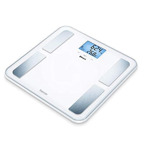 Beurer BF 850 Diagnosewaage weiß, extra große Trittfläche, Messung von Körperfett, Körperwasser, Muskelanteil und Knochenmasse, Kalorienbedarf AMR/BMR, BMI, mit App, zertifizierter Datenschutz