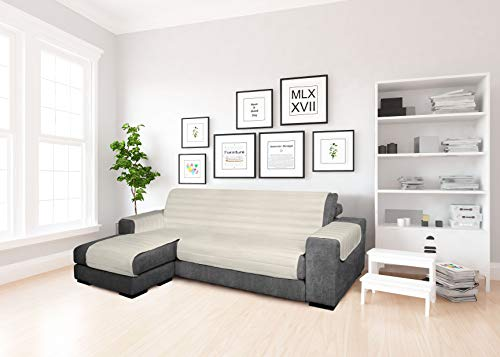 MB home basic Funda para sofá con Chaise Longue de Tela, Color Crema, 190 cm