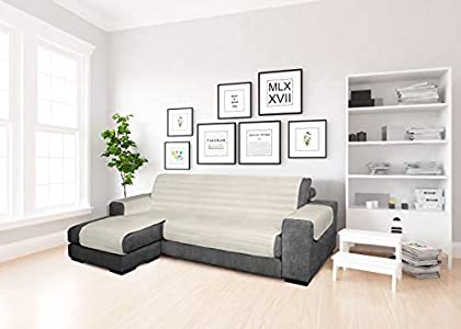 MB home basic - Funda para sofá con Chaise Longue de Color Crema, 190 cm