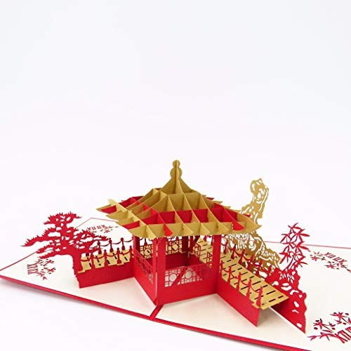 Asiatischer Pavillon Pop Up Grußkarte – Geburtstagskarte, Just Because Graduationskarte, Valentinstagskarte, Jubiläumskarte, Hochzeitskarte, Dankeskarte | Pop Card Express