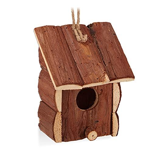 Relaxdays Casetta per Uccelli, Decorazione da Appendere, Legno Non Trattato,Balcone & Giardino, 16,5x12x9,5 cm, Naturale