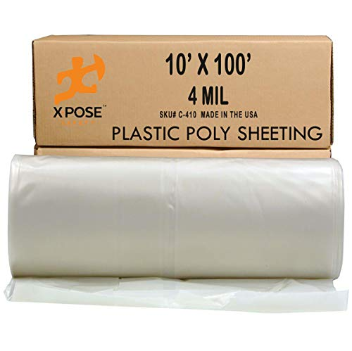 Clear Poly Sheeting - 10x100 Feet – Heavy Duty, 4 Mil Thick Plastic Tarp – Waterproof Vapor and Dust Protective Equipment Cover - Agricultural, Construction and Industrial Use - by Xpose Safety
