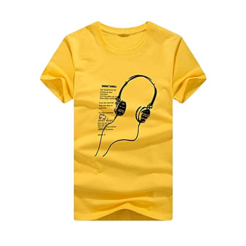 Streetwear Hombre Básica Verano con Cuello Redondo Hombre T-Shirt con Personalidad Estampada Moda Shirt Deportiva Hombre Manga Corta Tendencia Moderna Hombre Shirt H-Yellow 3XL