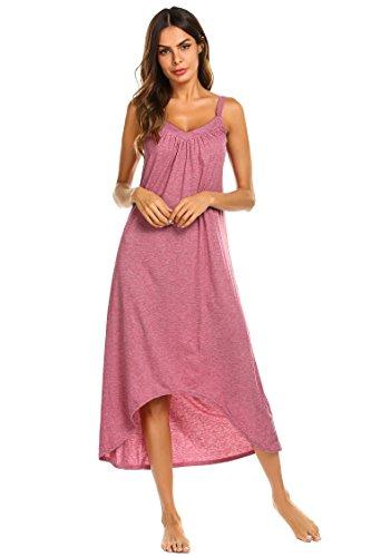 Ekouaer Womens Sleeveless Long Nightgown Summer Slip Night Dress Cotton Sleepshirt Chemise,A-red_6696,Large