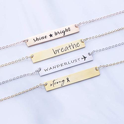 Inspirational Necklace-Silver, rose gold or 16k gold plated Bar Necklace, Personalized Word Necklace, Wanderlust Necklace, Gifts for Her