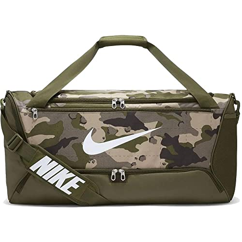 Nike Brasilia Training - Bolsa de lona (tamaño mediano), color caqui, verde y blanco