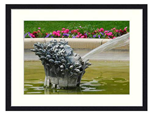 OiArt Wall Art Print Wood Framed Home Decor Picture Artwork(24x16 inch) - Fountain Water Paris French France Park Spray
