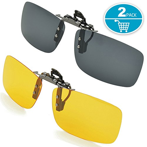 Clip-on Sunglasses Splaks Unisex Polarized Frameless Rectangle Lens 2PACK