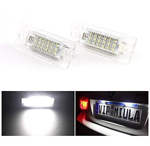 Lámpara de luz de matrícula 4PCS Car Piloto de matrícula for Volkswagen Golf Pablo Passat Jetta 3W 12V SMD3528 LED luces blancas de matrícula posterior de la placa de la lámpara Kit
