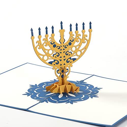 Liif Hanukkah Candles 3D Greeting Pop Up Hanukkah Card, Happy Hanukkah Holiday Card   With Envelop   Size 5 x 7 Inch