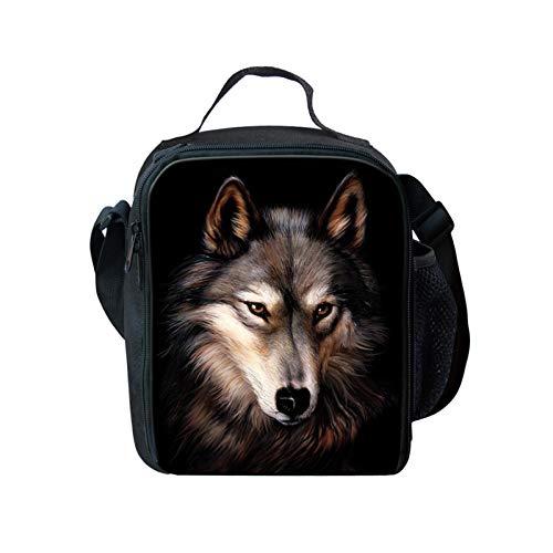 Showudesigns Wolf - Bolsa de almuerzo térmica para niños, con aislamiento térmico, para niños, con impresión de animales, uso diario