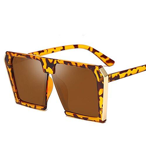 XCVB Trend grote vierkante zonnebril dames retro zonnebril dames zonnebril vrouwelijk mannelijk universeel, 4Tea