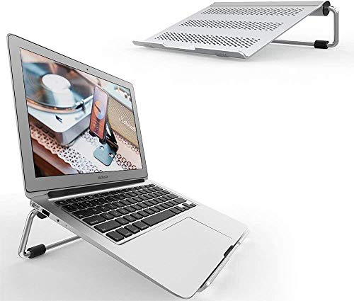 Adjustable Laptop Stand, Lamicall Laptop Riser : Ventilated Laptop Holder Compatible with Laptops Such as Mac Book Air Pro, Dell XPS, Microsoft, HP More Laptops up to 17 inch - Silver