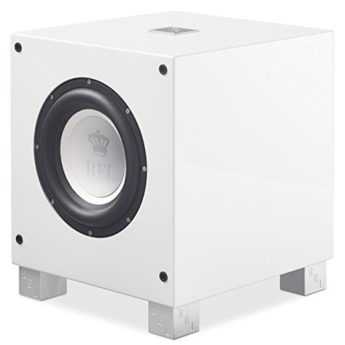 REL Acoustics T/7i Subwoofer, 8 inch Front-Firing Driver, Arrow Wireless Port, High Gloss White