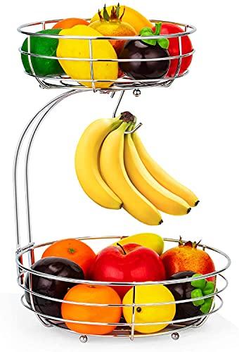 Cesta de frutas de 2 niveles, con soporte para banana, encimera de cocina, soporte de almacenamiento de metal, para almacenar y organizar frutas, verduras, huevos, panes (plata)