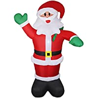 Wderni Santa Claus 6ft Christmas Blow-Up Yard Decoration with LED Light, Water Bag and Electric Air Pump