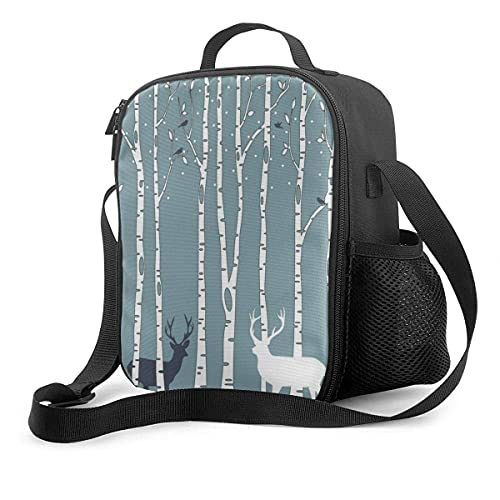 Jupsero Birch Trees - Caja de almuerzo mejorada, molinos de viento, con aislamiento, enfriador, bolsa de almuerzo, reutilizable, para picnic, escolar, con correa ajustable para el hombro y p