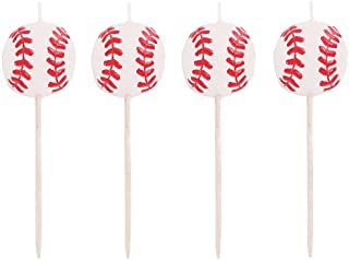 Creative Converting 4 Count Sports Fanatic Baseball Shaped Pick Candles - 105764